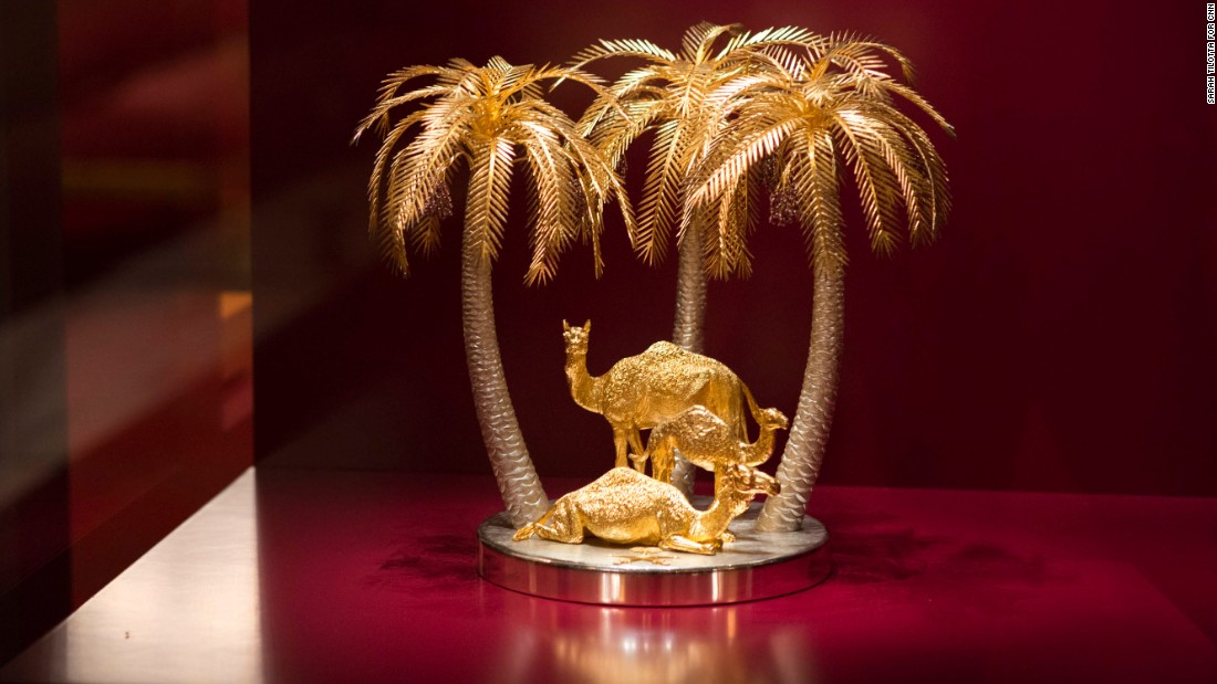 From one royal to another: Saudi Arabia's Prince Sultan bin Abdulaziz Al Saud gave the Queen this ornament showing three camels and three palm trees.