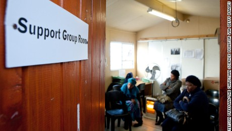 Stable patients diagnosed with the HIV virus meet at  a clinic in Cape Town, South Africa.