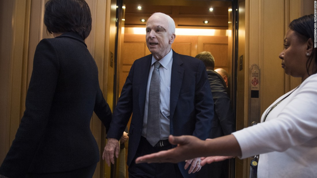 "US Sen. John McCain <a href=""http://www.cnn.com/2017/07/25/health/glioblastoma-mccain-senate-brain-cancer-bn/index.html"" target=""_blank"">returns to the Senate floor</a> on Tuesday, July 25, less than two weeks after surgeons removed a large blood clot from his brain and diagnosed him with brain cancer. He received a standing ovation on both sides of the aisle."