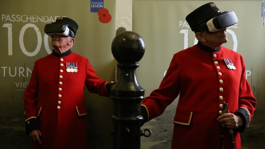 Chelsea Pensioners Bill Hunt, left, and John Kidman wear virtual-reality goggles at the Household Cavalry Museum in London on Tuesday, July 25. The former soldiers were watching footage from the Battle of Passchendaele, a World War I campaign that took place 100 years ago.
