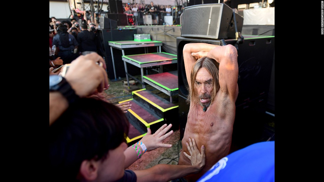 Punk legend Iggy Pop performs at the FYF Fest in Los Angeles on Sunday, July 23.