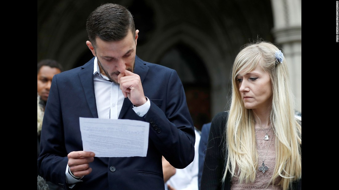 "Chris Gard and Connie Yates, parents of terminally ill baby Charlie Gard, read a statement at the High Court in London after <a href=""http://www.cnn.com/2017/07/24/health/charlie-gard-decision/index.html"" target=""_blank"">giving up a legal fight</a> over their son's treatment on Monday, July 24. Charlie suffers from mitochondrial DNA depletion syndrome, a rare degenerative condition that has left him with irreversible brain damage and a loss of motor skills. Great Ormond Street Hospital, where Charlie has been since October, received permission from the European Court of Human Rights to discontinue life support in spite of his parents' desire to bring him to the United States for an experimental therapy. The doctors at GOSH argued that every medical option has already been considered and treatment in another country would not be in Charlie's best interest."