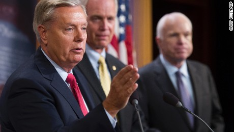 "Sen. Lindsey Graham, Sen. Ron Johnson, and Sen. John McCain, speak to reporters at the Capitol as the Republican-controlled Senate unable to fulfill their political promise to repeal and replace ""Obamacare"" because of opposition and wavering within the GOP ranks, on Capitol Hill in Washington, Thursday, July 27, 2017."