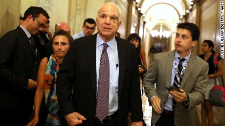 Sen. John McCain leaves the the Senate chamber at the U.S. Capitol after voting on the GOP 'Skinny Repeal' health care bill on  July 28, 2017 in Washington, DC. Three Senate Republicans voted no to block a stripped-down, or 'Skinny Repeal,' version of Obamacare reform.