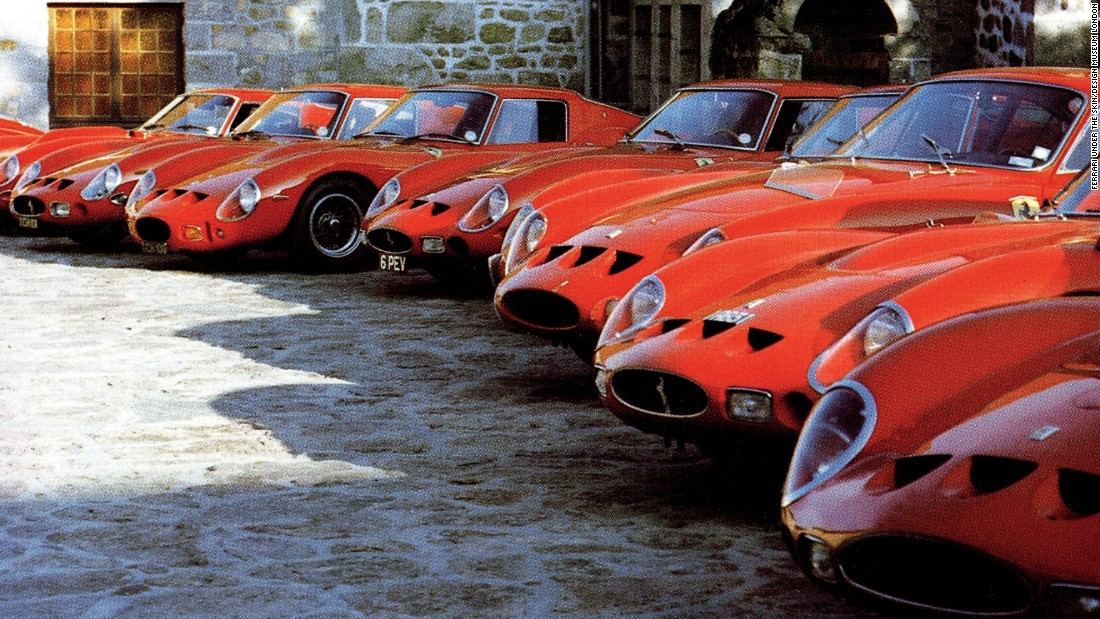 The 1962 Ferrari 250-GTO is most expensive car ever sold at auction, having fetched over $38,000,000. Here a selection of the highly coveted vehicles gather on the model's 20th Anniversary at the Pierre Bardinon estate in France.