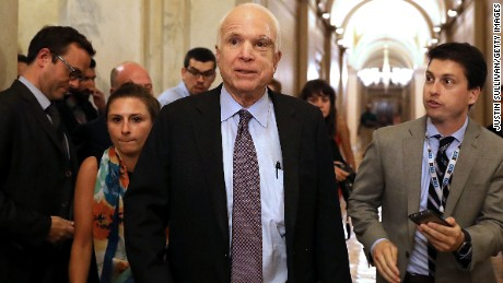 WASHINGTON, DC - JULY 28:  Sen. John McCain (R-AZ) leaves the the Senate chamber at the U.S. Capitol after voting on the GOP 'Skinny Repeal' health care bill on  July 28, 2017 in Washington, DC. Three Senate Republicans voted no to block a stripped-down, or 'Skinny Repeal,' version of Obamacare reform.  (Photo by Justin Sullivan/Getty Images)