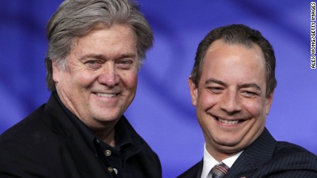 NATIONAL HARBOR, MD - FEBRUARY 23:  White House Chief of Staff Reince Priebus (R) and White House Chief Strategist Steve Bannon (L) arrive on stage for a conversation during the Conservative Political Action Conference at the Gaylord National Resort and Convention Center February 23, 2017 in National Harbor, Maryland. Hosted by the American Conservative Union, CPAC is an annual gathering of right wing politicians, commentators and their supporters.  (Photo by Alex Wong/Getty Images)