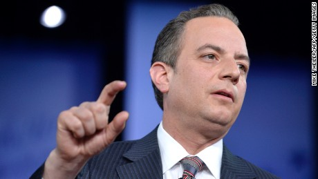 White House Chief of Staff Reince Priebus makes remarks during a discussion at the Conservative Political Action Conference (CPAC) at National Harbor, Maryland, February 23, 2017. / AFP / Mike Theiler        (Photo credit should read MIKE THEILER/AFP/Getty Images)