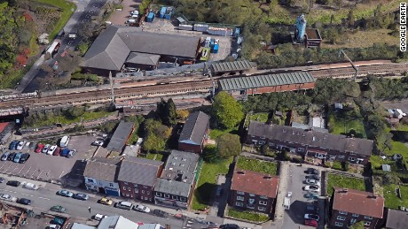 Bird's eye view of the Witton Station in Birmingham, England.