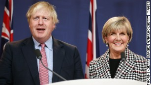 Johnson spoke alongside Australian Foreign Minister Julie Bishop.