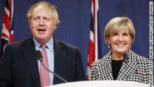 Johnson spoke alongside Australian Foreign Minister Julie Bishop.