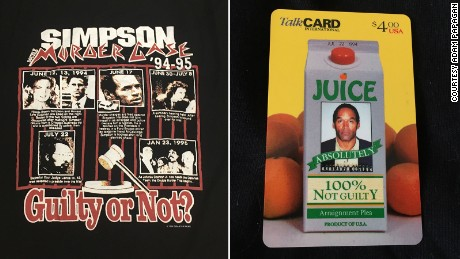 """I have an O.J. phone card with a carton of orange juice on it that says '100 percent not guilty,'"" Papagan says. ""It's so of its time it's mind boggling."""