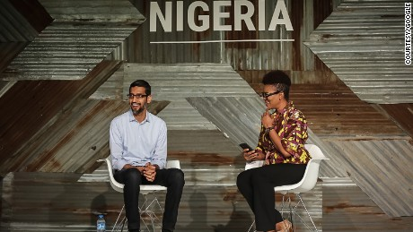 Google CEO Sundar Pichai at Google for Nigeria event in Lagos Thursday. He announced Google's commitment to train 10 million people over the next five years in Africa.