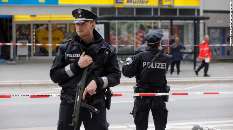 Police cordoned off the area around the supermarket in Hamburg on Friday.