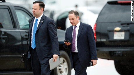 White House Director of Social Media Dan Scavino, left, walks to a vehicle with former White House Chief of Staff Reince Priebus. (AP Photo/Alex Brandon)