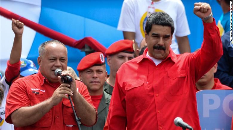 Venezuelan President Nicolás Maduro raises his fist during a speech on Thursday.