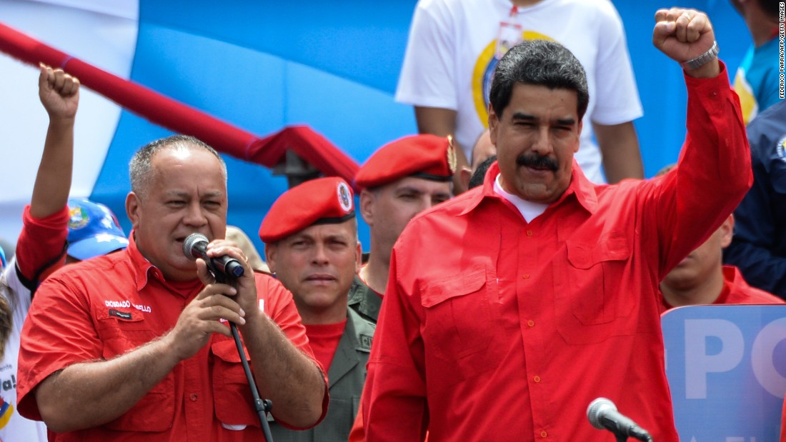 Maduro, right, and deputy Diosdado Cabello join supporters for a Caracas rally Thursday, July 27, marking the last day for candidates to campaign before the election for a special assembly.