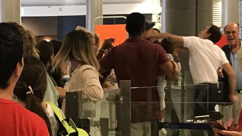 The passenger was punched by a member of ground staff at Nice airport on Saturday.