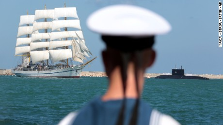 The Khersones sail training ship during the naval parade to mark Russian Navy Day in Sevastopol.