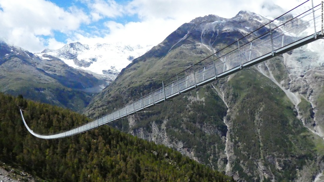 Measuring 1621 feet long, the newly opened Charles Kuonen Suspension Bridge is the world's longest pedestrian suspension bridge, according to Zermatt Tourism.