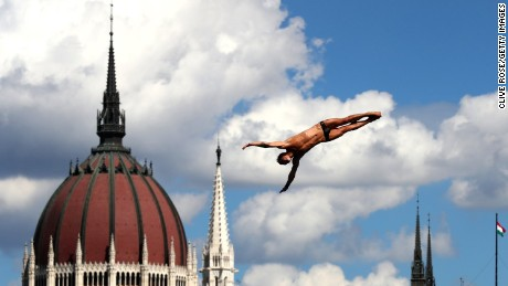 BUDAPEST, HUNGARY - JULY 28:  Nikita Fedotov of Russia competes during the Men's High Dive, preliminary round on day fifteen of the Budapest 2017 FINA World Championships on July 28, 2017 in Budapest, Hungary.  (Photo by Clive Rose/Getty Images)