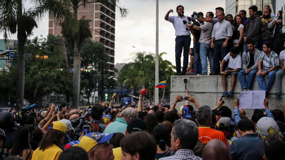 "Opposition lawmaker Juan Requesens addresses a rally in Caracas on July 31. Two other leading opposition figures, Leopoldo Lopez and Antonio Ledezma,<a href=""http://www.cnn.com/2017/08/01/americas/venezuela-election-unrest/index.html""> were rounded up from their homes,</a> according to their families."
