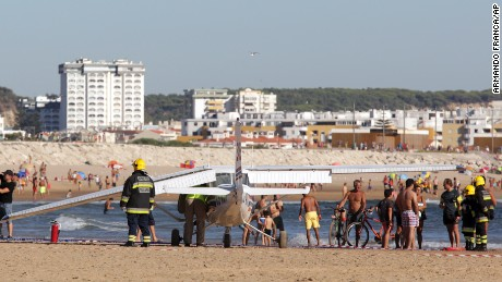 The pilot made an emergency landing on the beach, for reasons unknown.