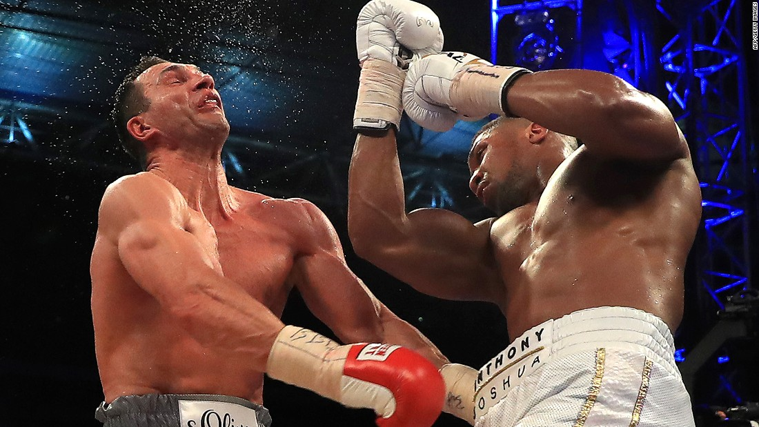 "The end is nigh: Wladimir Klitschko (left) in action during his defeat to Britain's Anthony Joshua at Wembley Stadium in April 2017. <a href=""https://www.facebook.com/cnnsport/"" target=""_blank""><strong>Where does Wladimir Klitschko rank among the boxing greats?<strong><em></strong> <em></strong></em>Have your say on CNN Sport's Facebook page</em></a>"