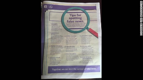 The Standard newspaper in Kenya shows a full-page ad from Facebook advising voters how to spot fake news in the lead-up to the August 8 national elections.