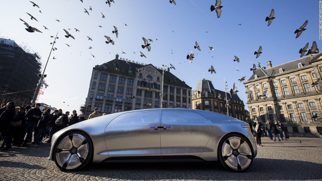 The Mercedes Benz F 015 at the Dam square in Amsterdam in March 2016.