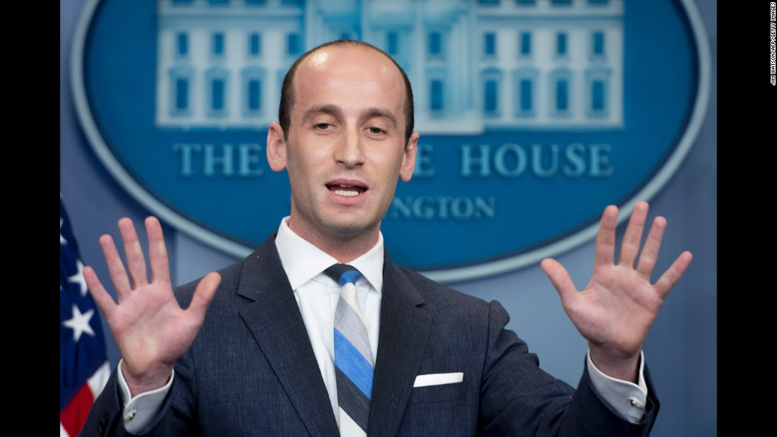"Stephen Miller, President Trump's senior policy adviser, speaks at the daily White House press briefing on Wednesday, August 2. During the briefing, <a href=""http://www.cnn.com/2017/08/02/politics/emma-lazarus-poem-statue-of-liberty/index.html"" target=""_blank"">Miller clashed with Jim Acosta,</a> CNN's senior White House correspondent, over Trump's support for a new skills-based immigration proposal."