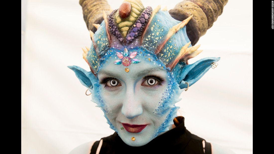 A model poses for a photo during the World Bodypainting Festival, which started Friday, July 28, in Klagenfurt, Austria.
