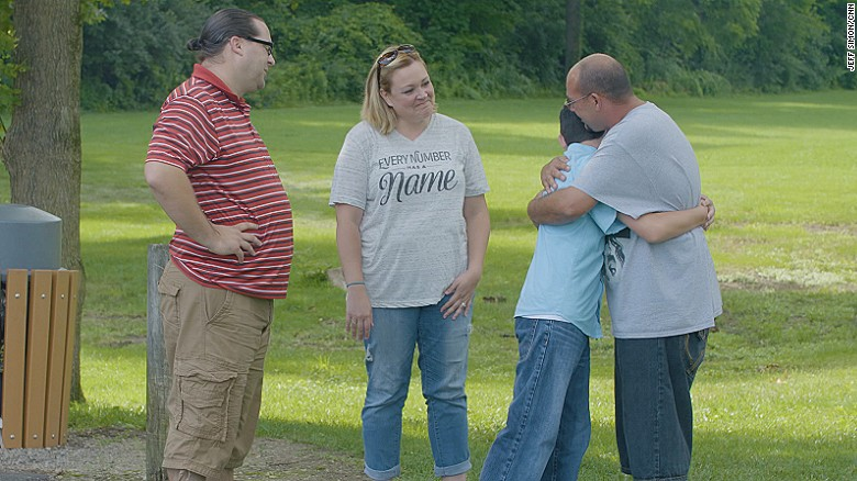 Recovering addict and 12-year-old son reunite