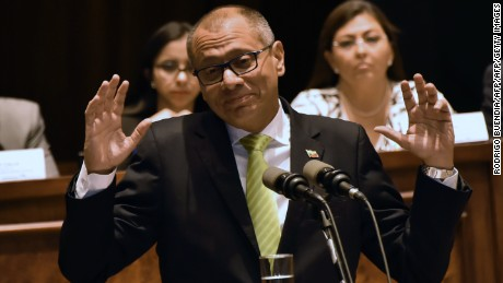 Ecuadorean Vice-President Jorge Glas speaks before the supervision commission of the Ecuadorean National Assembly on the corruption case of Brazilian construction company Odebrecht in Quito on June 21, 2017.   / AFP PHOTO / Rodrigo BUENDIA        (Photo credit should read RODRIGO BUENDIA/AFP/Getty Images)