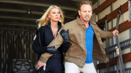 Pictured: (l-r) Tara Reid as April Shepard, Ian Ziering as Fin Shepard -- (Photo by: Tyler Golden/Syfy)