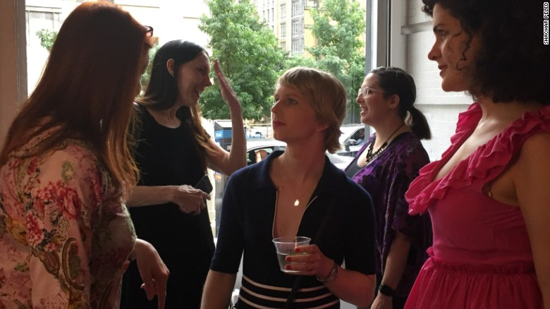 Chelsea Manning greets fans at New York's Fridman Gallery.