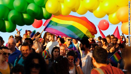 Israeli LGBTQ activists at the annual Gay Pride Parade in June.