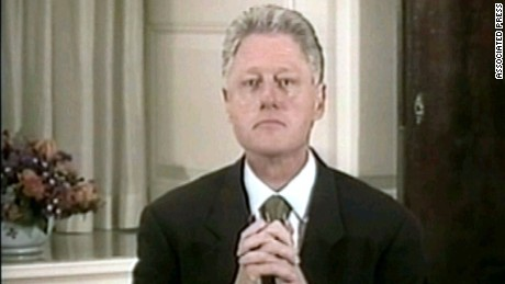 In this image made from video, President Clinton listens to a question from Ken Starr during near the end of his videotaped testimony Monday, Aug. 17, 1998, at the White House. The House Judiciary Committee released the videotape and 2,800 pages of documents Monday, Sept. 21, 1998, from Independent Counsel's Starr's investigation of the president. (AP Photo/APTV)