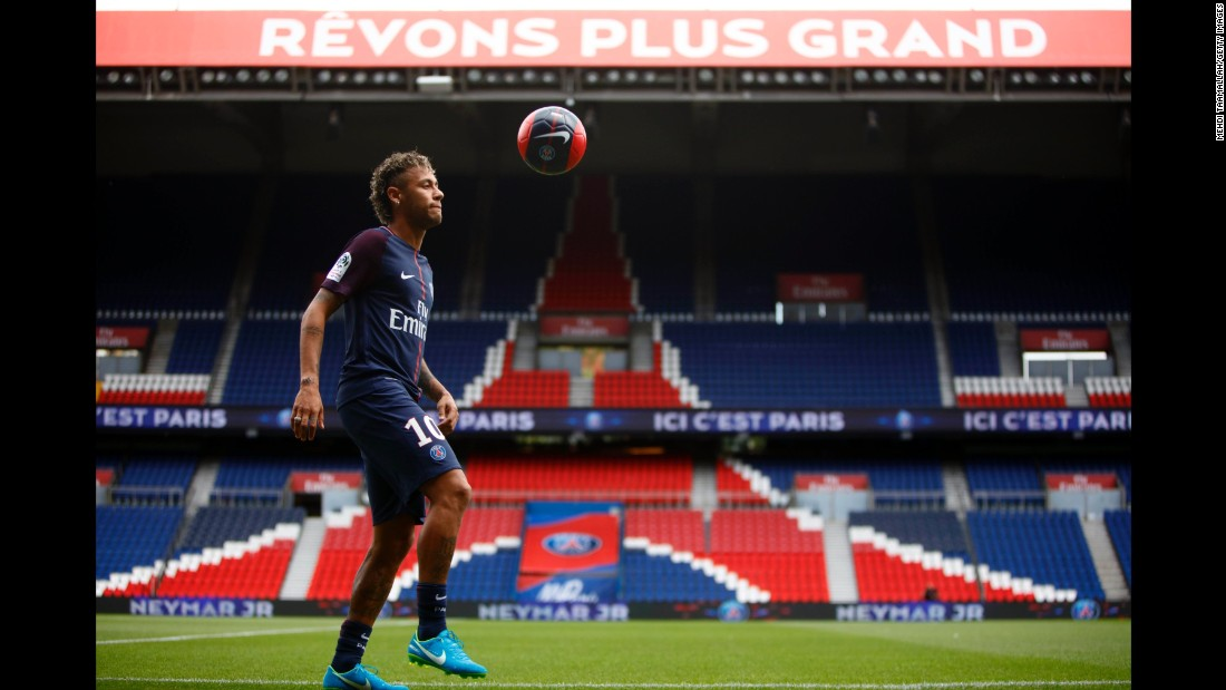 Neymar practices August 4, after a news conference and jersey presentation following his signing as a player for Paris Saint-Germain at Parc des Princes n Paris.