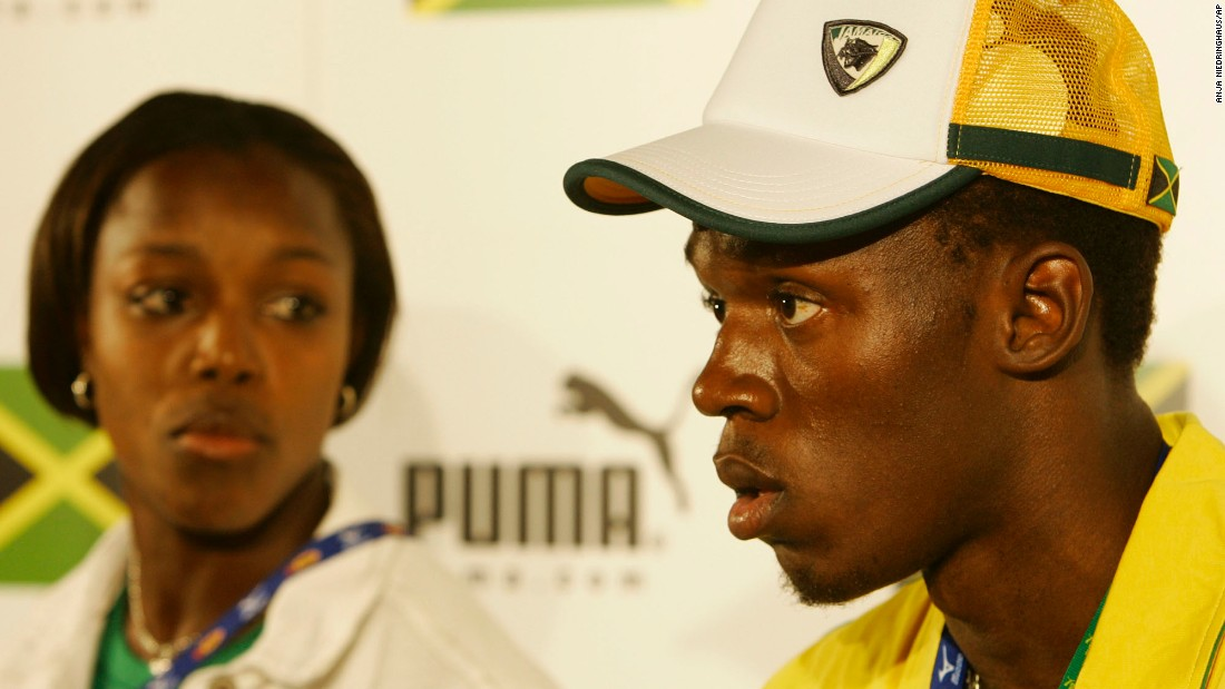 Bolt listens to a question at a news conference before the 2005 World Championships.