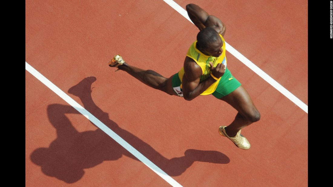 Bolt competes in a 200-meter heat at the Beijing Olympics. A few days after winning the 100, Bolt completed the double by setting a new world record in the 200 final. He finished in 19.30 seconds, breaking the record that American Michael Johnson had held since 1996.