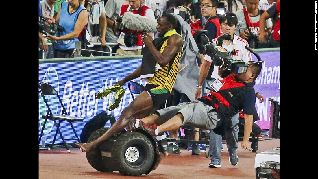 After winning the 200-meter final at the 2015 World Championships, Bolt was accidentally knocked over by a cameraman on a Segway. Neither man was hurt, however, and they later shook hands on the medal stand.