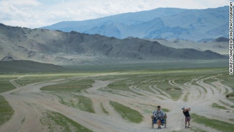 The pair make their way across the sparse Mongolian plains.