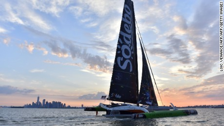 French skipper Thomas Coville sails Sodebo Ultim multihull on July 4, 2017 in New York city after they placed third in The Bridge 2017, a transatlantic race between the cruise liner RMS Queen Mary 2 and the world's fastest Ultim trimarans from Saint-Nazaire to New-York City.  AFP PHOTO / LOIC VENANCE / AFP PHOTO / LOIC VENANCE        (Photo credit should read LOIC VENANCE/AFP/Getty Images)