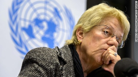 Former war crimes prosecutor Carla del Ponte listens at a Geneva news conference in February, 2013.