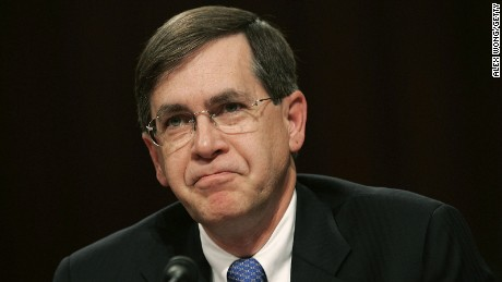 Senior adviser to the secretary of state and coordinator for Iraq David Satterfield pauses as he testifies during a hearing before the Senate Armed Services Committee on November 15, 2006.