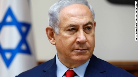 Israeli Prime Minister Benjamin Netanyahu attends the weekly cabinet meeting at his office in Jerusalem on August 6, 2017. / AFP PHOTO / AFP PHOTO AND POOL / GALI TIBBON        (Photo credit should read GALI TIBBON/AFP/Getty Images)