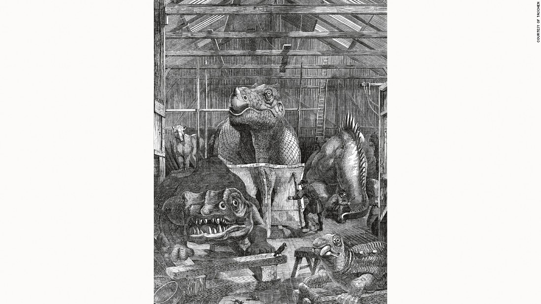 Concrete monsters materialized within a workshop on the grounds of the Crystal Palace, a revolutionary glass and cast-iron structure used to house the Great Exhibition of 1851.