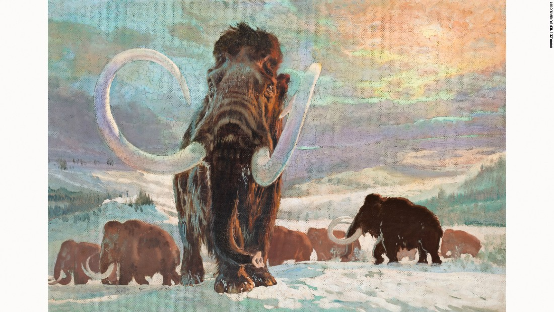 Distinctive silhouettes of the distant mammoths recall those painted on cave walls thousands of years ago. Perhaps Burian, who spent so much time imagining the prehistoric world, felt a certain kinship with the Paleolithic artists who first depicted these animals.