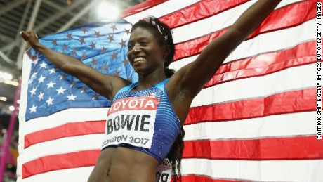 LONDON, ENGLAND - AUGUST 06:  Tori Bowie of the United States celebrates winning gold in the Women's 100 Metres Final during day three of the 16th IAAF World Athletics Championships London 2017 at The London Stadium on August 6, 2017 in London, United Kingdom.  (Photo by Patrick Smith/Getty Images)